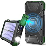 Solar Charger, 20000mAh Solar Power Bank, Portable Fast Charging, Qi Wireless Charger, External