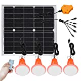 Roopure 20W Solar Panel Light Kit Off Grid Pendant Lights with Remote Control Solar Powered Shed...