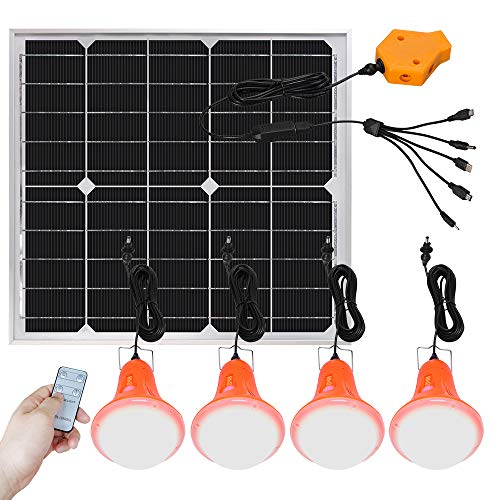 Roopure 20W Solar Panel Light Kit Off Grid Pendant Lights Remote Control Solar Powered Shed Lights 4 LED Bulbs Detachable 16.5FT Cord, Outdoor Emergency, Cellphone Charge Output, Camping Power Supply