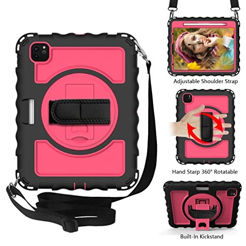 LESLEY LM For PC + Silicone Shockproof Combination Case with 360 Degree Rotating Holder & Handle iPad Pro 11 (2020) 2021 NEW MODEL (Color : Black+Hot Pink)