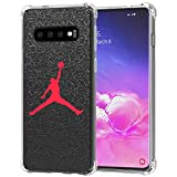 Galaxy S10 Case, Ailiber Basketball Slam Dunk Jump Man AJ Air MJ NBA Sport Red Black Thin Light Design Shock Absorption Soft TPU Bumper Protective Cover for Samsung Galaxy S10 6.1 inch - Basketball