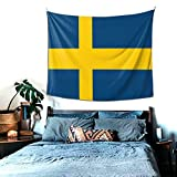 Schweden-Wandteppich, Heimdekoration, Wandbehang, Tagesdecke, Picknickdecke, für Schlafzimmer, Wohnzimmer, Schlafsaal, Yoga, Meditation, 152 x 130 cm