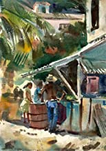 California Watercolor Fine Art Print, Working at The Shop, by Barse Miller, 17 x 12 inches