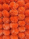 Decoración de manualidades, paquete de 5 guirnaldas de flores de caléndula de color naranja oscuro artificial, 5 pies de largo, para fiestas, bodas indias, decoraciones temáticas indias,...