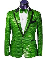 Green/C Splendid Sequins Lapel Tuxedo Jacket