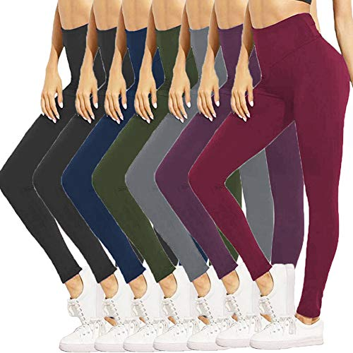 HIGHDAYS High Waisted Leggings for Women - Soft Opaque Pants for Athletic, Workout, Yoga (One Size, 7 Pairs (Black X2+Navy Blue+Olive+Gray+Purple+Burgundy))