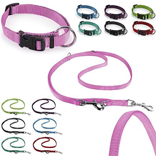 CarlCurt - Classic Line: Hundehalsband & Hundeleine Im Set, Aus Strapazierfähigem Nylon, XS 22-35cm & XS 1,90m, Rosa