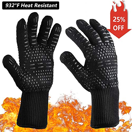 MSDADA BBQ Gloves,932°F Oven Mitts Heat Resistant Cooking Gloves for Cooking, Grilling, Smoker Baking, Barbecue, Kitchen, Fireplace, Welding, Cut Resistant and Forearm Protection