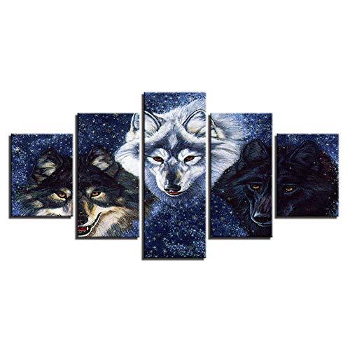 WHFDH Modern canvas poster muurkunst Hd Print abstract schilderij 5 dieren wolf schilderij wooncultuur woonkamer 20x35 20x45 20x55cm Geen frame.