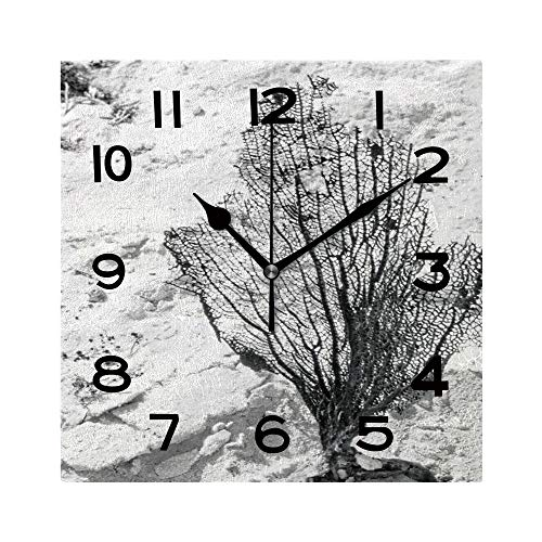 ALUONI 8 Inch Square Face Silent Wall Clock Dried Seaweed Bract Unique Contemporary Home and Office Decor No032315