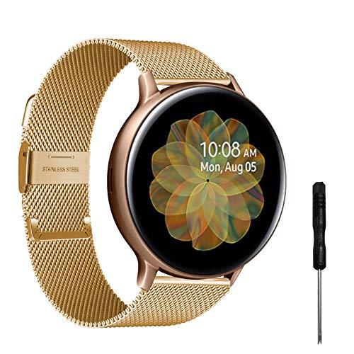 Correa compatible con Samsung Galaxy Watch Active 2 40 mm/44 mm, correas de acero inoxidable de 20 mm para Galaxy Watch Active dorado