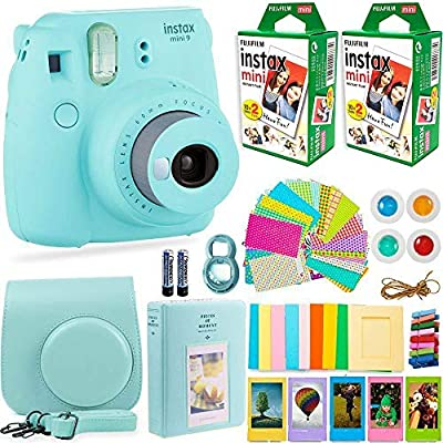 FujiFilm Instax Mini 9 Instant Camera + Fuji Instax Film (40 Sheets) + DEALS NUMBER ONE Accessories Bundle - Carrying Case, Color Filters, Photo Album, Stickers, Selfie Lens + More (ICE Blue) by Fujifilm + deals number one