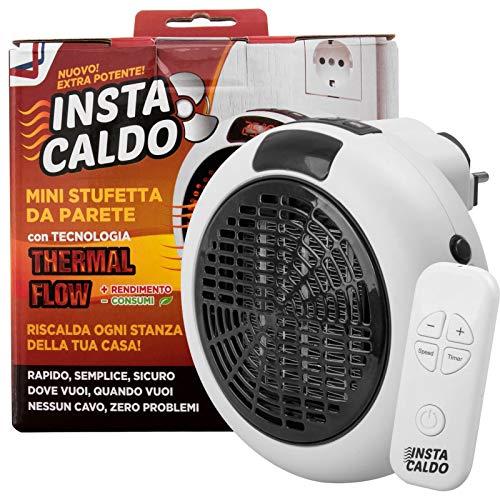 600w Mini Stufetta Elettrica Caldo Rapido Tecnologia Basso Consumo Spina da Parete senza cavo. Termoventilatore con Regolazione Ventole, Velocità e Timer autospegnimento con Telecomando (InstaCaldo)