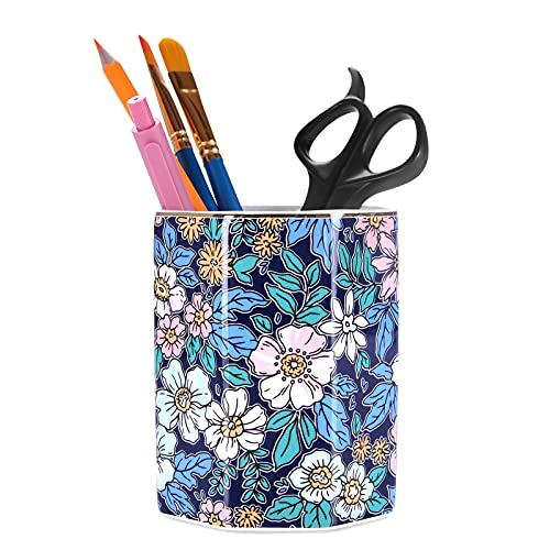Nipichsha Pen Holder, Ceramics Pencil Holder for Desk, Floral Flower Makeup Brushes Organizer Pen Stand Cup for Office and Home, Cute Desk Decor Office Accessories Gift for Women, Men, Kids and Girls