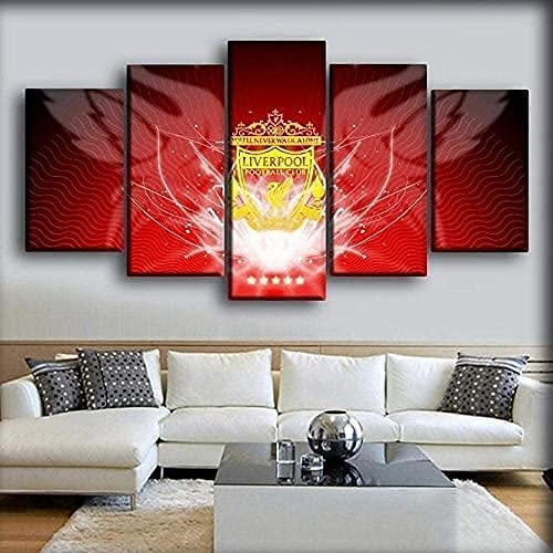 Unframed Limited price sale 5 Piece Canvas Artwork Ranking TOP10 Liverp Printed Football Painting