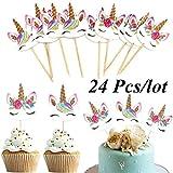 NSH 24 Unids/Set Unicornio de Dibujos Animados Cupcake Toppers Decoración de Pasteles Insertar Tarjeta Pick Wedding Kids Birthday Party Decor Supplies