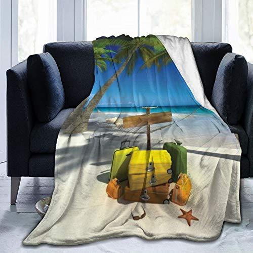 QIUTIANXIU Mantas para Sofás de Franela 150x200cm Playa Tropical con Palmeras Verdes Océano Agua con Maletas Cielo Manta para Cama Extra Suave