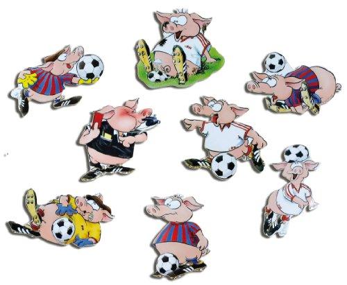 Kühlschrankmagnete Fußball Schweine Magnete für Magnettafel Kinder stark 8er Set Comic mit Motiv Tiere lustig