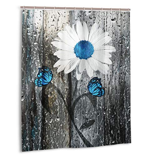 Carwayii White Blue Daisy Vintage Wood Rain Butterfly Bath Curtain Quick Dry Shower Curtain Water-Repellent Bathroom Curtains with Metal Grommets Good Sagging Thick Bathtub Curtain for Home Decor