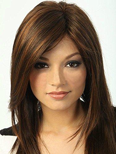 Bestland Damen-Perücke, synthetisch, kurz, glatt, Bob-Frisur, braun mit blonden Strähnen
