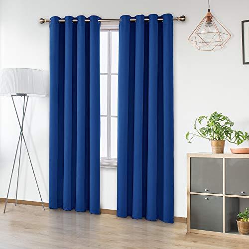Amazon Brand – Umi Cortinas Opacas de Dormitorio Moderno Térmicas Aislantes Luz para Habitación Suaves 2 Paneles con Ojales 140 x 290 cm Azul Oscuro