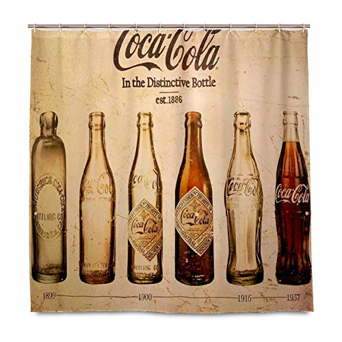Retro Coke Coca Cola Bottle Shower Curtains for Bathroom 60 x 72 inches with 12 Hooks Accessories Home Decorative Custom Waterproof Bathroom Curtains for Kids Girls Boys