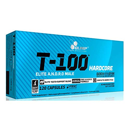 T-100 Hardcore 120 Capsules | Hardcore Testosterone Booster for Men | Anabolic Pills for Muscle Mass Growth