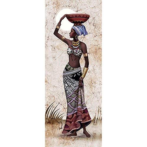 Tiamu Labor de Aguja Pintura de Diamante Bordado de Diamante Imagen de Diamante de Imitación Taladro Redondo Completo Decoración del Hogar, Canasta de Frutas en Cabeza de Mujer Africana