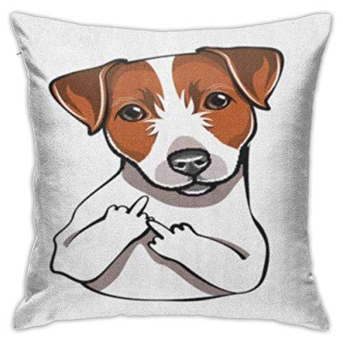 H.Slay Fundas de Almohada de 18 x 18 Pulgadas, sofá Cuadrado Decorativo Funda de Almohada marrón Russel Jack Russell Terrier The Middle Finger Dog Comic Toon