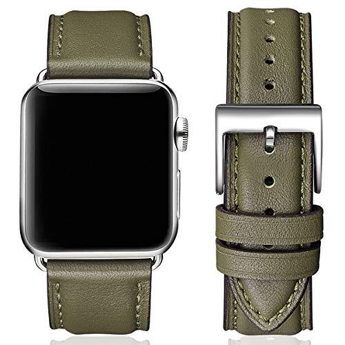 SUNFWR Lederbänder für Apple Watch Armband 38mm 40mm 42mm 44mm,Männer Frauen Ersatz-Echtlederband für iWatch Serie 6 5 4 3 2 1,SE,Sport,Edition(38mm 40mm,Heer Grün & Silber)