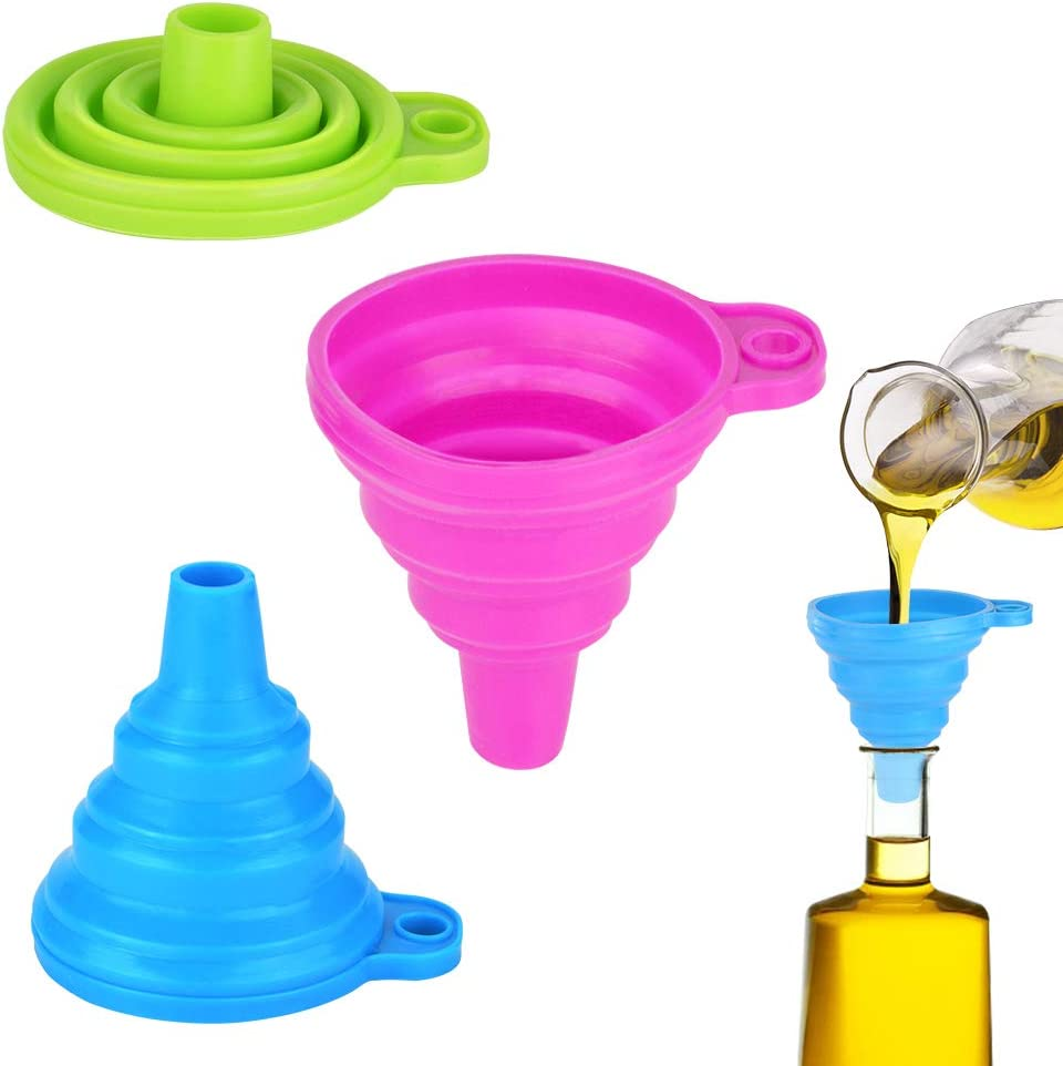 Embudo de Silicona, Embudo Plegable de Silicona, Embudos de Cocina Flexible para la Cocina, Botella de Agua, líquido Transferencia (3 Paquetes)