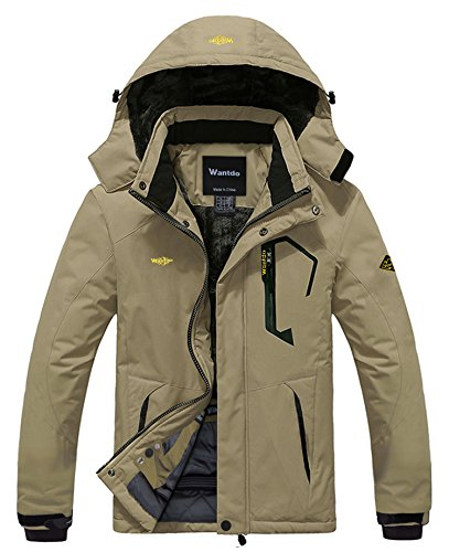 Wantdo Men's Waterproof Mountain Jacket Fleece Windproof Ski Jacket US M Khaki M