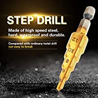 ステップドリル、ステップドリルビットスチールステップドリルステップドリルビット、ステップドリルビットセット多穴ステップアップビット塩ビ板を切断するための薄い鉄板(4-12mm)
