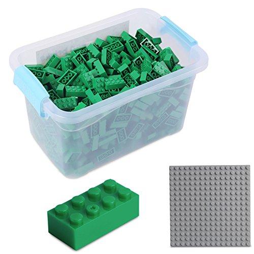 Katara Juego De 520 Ladrillos Creativos En Caja Con Placa De Construcción 100% Compatibles Con Lego Classic, Sluban, Papimax, Q-bricks, Color Verde (1827) , color/modelo surtido