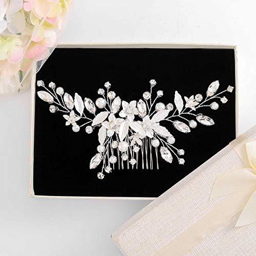 Fairvir Brautschmuck Hochzeit Haarkamm Silber Blume glitzernd Strass Kristall Braut Seitenkämme Perlen Blatt Haarschmuck für Frauen und Mädchen