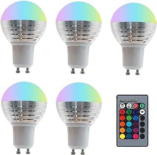 SGJFZD 5PCS 85-265V 110V 220V GU10 RGB LED Light Bulb 16 Color Changeable Magic LED Night Light Lamp Dimmable Stage Light ...