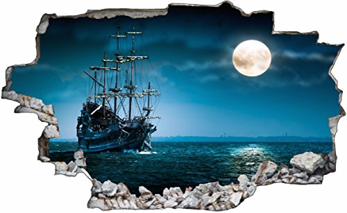 DesFoli Piraten Schiff Pirates 3D Look Wandtattoo 70 x 115 cm Wand Durchbruch Wandbild Sticker Aufkleber C243