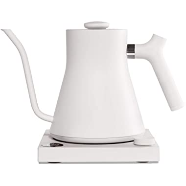 Fellow Stagg EKG Electric Pour-Over Kettle For Coffee And Tea, Matte White, Variable Temperature Control, 1200 Watt Quick Heating, Built-in Brew Stopwatch
