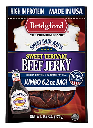 Bridgford Sweet Baby Ray's Sweet Teriyaki Beef Jerky, High Protein, Zero Trans Fat, Made With 100% American Beef, 6.2 Oz, Pack of 3
