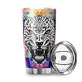 OwlOwlfan - Tazza da viaggio con motivo leopardo leone, in acciaio INOX, con coperchio isolato sottovuoto, per attività all'aperto, per bevande ghiacciate e bevande calde, 600 ml, colore: bianco