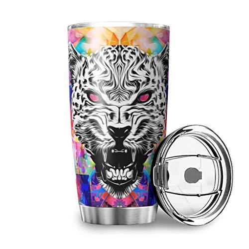Toomjie Löwenleopard Edelstahl Thermobecher mit Deckeln vakuumversiegelt Muster Langlebig Reisen Wasserflasche für Büro White 600ml