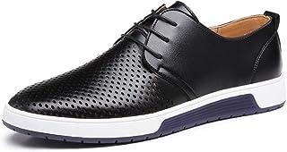 Qiusa Hommes Respirant Chaussures à Lacets décontractés Bout Rond Grande Taille évider Confortable derb (Couleuré   Noir, Taille   EU 48)
