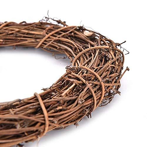 LACKINGONE - Ghirlanda rotonda in vimini da appendere, in rattan, 20 cm, per feste nuziali, Vimini, 15 cm