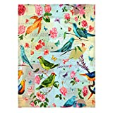 Kameng 58 x 80 Inch Print with Birds, Flowers and Butterflies Super Soft Throw Blanket Comfortable Warm Velet Plush Bed Blankets