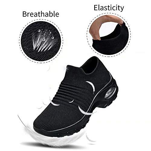 Zapatos Deporte Mujer Zapatillas Deportivas Correr Gimnasio Casual Zapatos para Caminar Mesh Running Transpirable Aumentar Más Altos Sneakers Negro Gris Morado Rojo 35-44 Negro 37