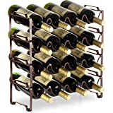 Auledio 4 Tiers Stackable Metal Wine Rack, 16 Bottles Freestanding Holder Organizer Storage for Kitchen, Bar, Pantry, Wine Cellar, Basement, Countertop, Cabinet - Bronze