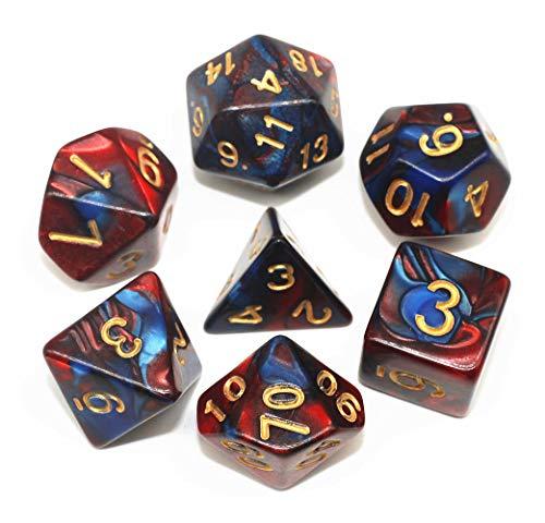 Rot Blau DND Polyedrische Würfel Set für Dungeons und Dragons D&D Pathfinder RPG MTG Rollenspiel Doppel-Farben Dice mit Würfelbeutel