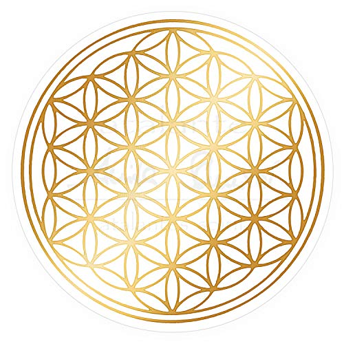 atalantes spirit Blume des Lebens Aufkleber 9cm, 5 Stück mit Schutzlack - Farbe Gold - Folie transparent Sticker Lebensblume