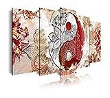 DekoArte 518 - Cuadros Modernos Impresión de Imagen Artística Digitalizada | Lienzo Decorativo Para Tu Salón o Dormitorio | Estilo Ying Yang Abstractos Zen Colores Beig Rojo | 5 Piezas 200x100cm XXL