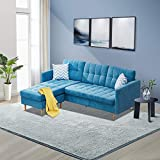 Innootechnology Convertible Sectional Sofa Bed L-Shaped Couch Linen Fabric for Small Space, Mid-Century Modern...